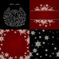 set of cristmas background snowflake santa beard