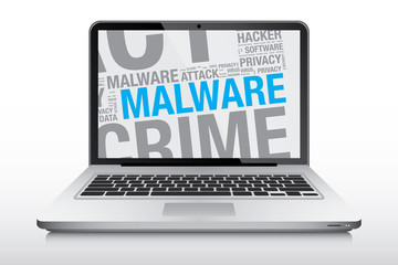 Malware word cloud on laptop screen vector concept