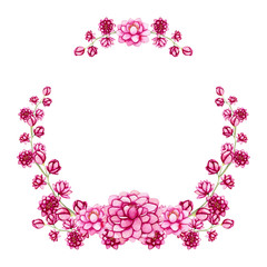 Wreath with Watercolor Little Bright Pink Flowers