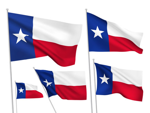 USA Texas vector flags. A set of 5 wavy 3D flags created using gradient meshes
