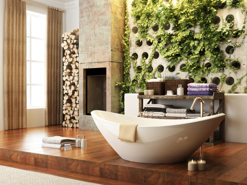 Rustic open concept bathroom with wall atrium and fireplace . 3d rendering