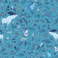 Vector Turquoise Forest Pattern
