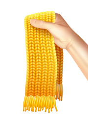 Knitted Scarf In Hand Realistic Illustration