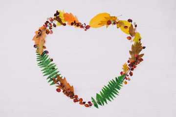 Autumn composition. Heart symbol made of colorful leaves on white wooden background. Top view, flat lay, copy space.