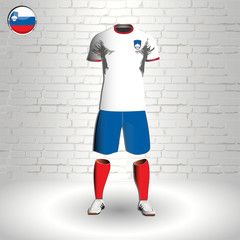 eps 10 vector football Slovenia team player uniform template. National colors sportwear. Slovanian flag button chrome ring. Brick wall background