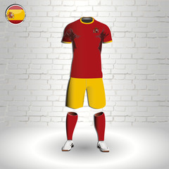 eps 10 vector football Spain team player uniform template. National colors sportwear. Spanish flag button chrome ring. Brick wall background