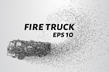 A fire truck from the particles. Fire truck consists of dots and circles. Vector illustration