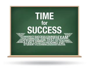 Time for Success on green chalkboard isolated background