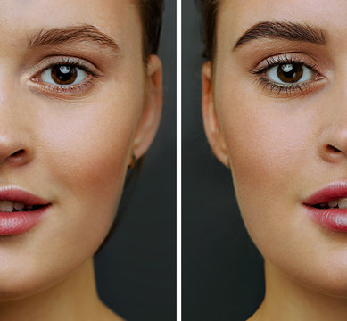 Female face, with perfect skin, cut in half to present before and after  coloring, styling eyebrows.