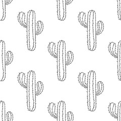 Mexican Cactus seamless pattern, vector illustration. Hand drawn