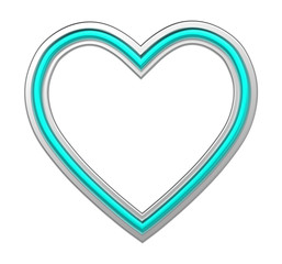 Silver-blue heart picture frame isolated on white. 3D illustration.