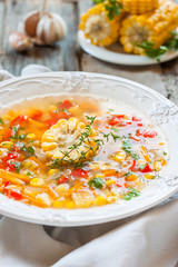 corn soup with vegetables