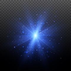 Light effect. Star burst with sparkles. Blue glitter texture.