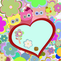 owls in flowers with big heart. greetings card