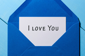 I Love You Written Inside An Envelope Letter. Valentine day concept
