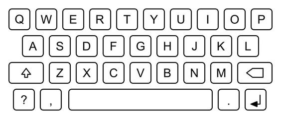Una immagine vettoriale che mostra una tastiera con tasti arrotondati e lettere maiuscole.