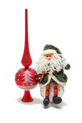 Toys for Christmas isolated, Santa and Christmas ball