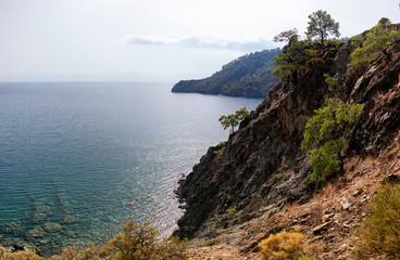 Secluded bay in the Turkish Mediterranean Sea, Turkey, Viewed fr