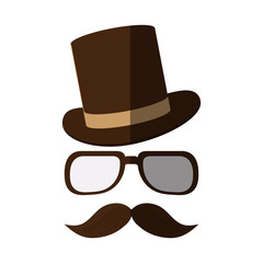 Hat glasses and mustache icon. Hipster style vintage retro fashion and culture theme. Isolated design. Vector illustration
