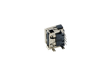 USB jack, plug, socket, connector for Laptop notebook , common  interface   chip, White background
