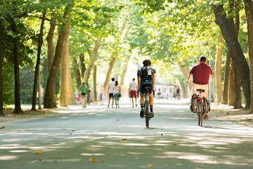 Biking in the Vondelpark in Amsterdam