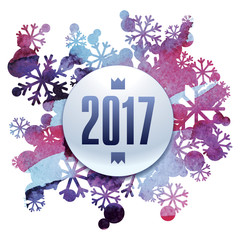 2017, happy new Year, snow bouquet, handmade painted, abstract vector design art