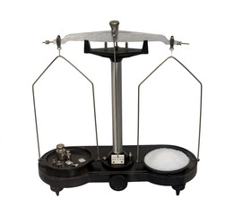 old scales to measure the weight of the drug in pharmacies