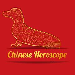 Chinese horoscope background with golden dog