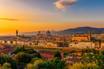 Aluminium Prints Florence Sunset view of Florence, Palazzo Vecchio and Florence Duomo, Italy