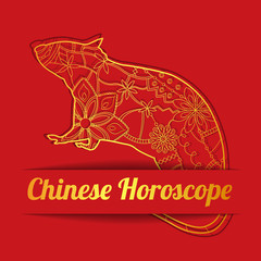 Chinese horoscope background with golden rat