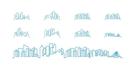 City Skyline lineart logo set