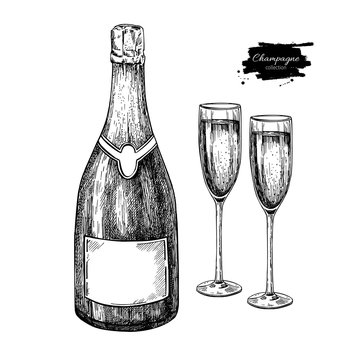 Champagne bottle and glass. Hand drawn isolated vector illustrat