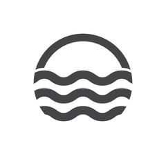 Water waves logo. Sea flowing sign. Water symbol. Black. Vector illustration.