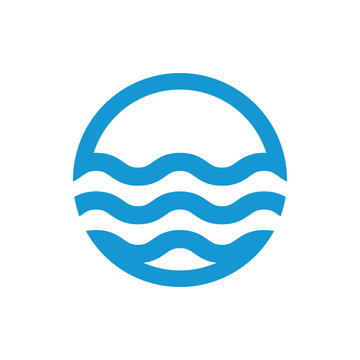 Water waves logo. Sea flowing sign. Water symbol. Blue. Vector illustration.