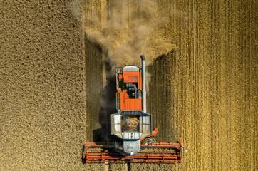 Autocollant pour porte Culture Combine working on the wheat field