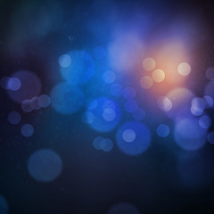 Beautiful blue orange bokeh with dust