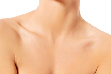 Close up of female neck and shoulder