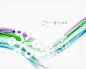 Snowflakes on wave line, Christmas and New Year background