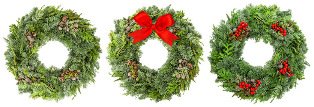 Christmas wreath pine spruce twigs cones berries ribbon bow