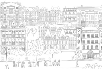 Historic old buildings line style. Outline old city life building. Architectural sketch.
