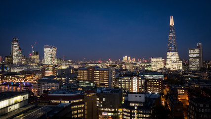 The financial City of London business district skyline at night