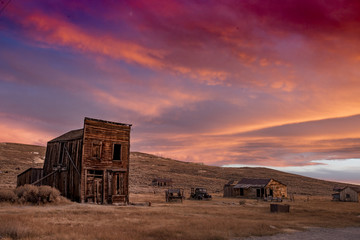 Ghost Town of Bodie at Sunset Wall mural