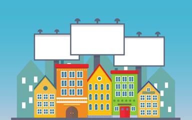 Big three blank urban billboard together over small city town street buildings. Cartoon Billboard advertisement commercial blank.