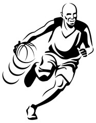 Basketball player silhouette. Vector clip art.