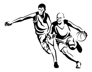 Two basketball players silhouettes.