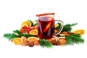 Mulled wine festive decorated with christmas spices on white