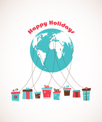 Global Holiday season. world wide gift delivery