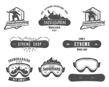 Set of Snowboarding extreme logo and label templates. Winter snowboard sport store badge. Emblem and icon. Mountain adventure insignia, patch. vintage monochrome style. Retro design