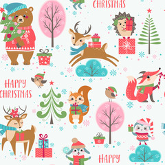 Cute Christmas animals pattern