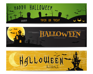 Three Halloween landscape banners. Green, dark and orange designs. Can be use on web, print, as invitation, flyer card, halloween poster etc. Creepy design for celebration holiday. illustration